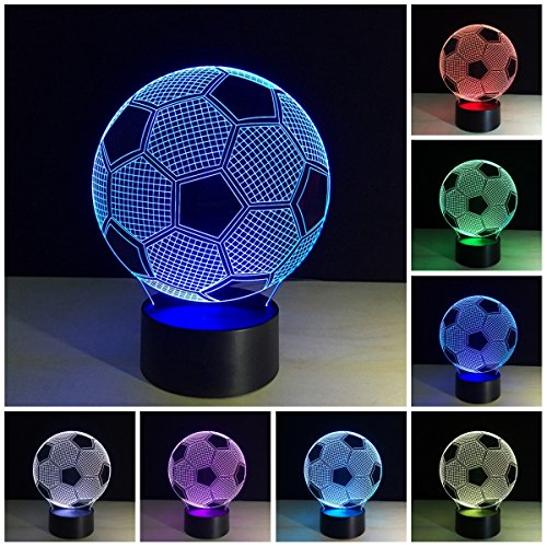 3D Night Light Lamp  Soccer Ball 3D Illusion Night Light Led Desk Lamp 3D Light Art Sculpture Night Light For Home Office Kids