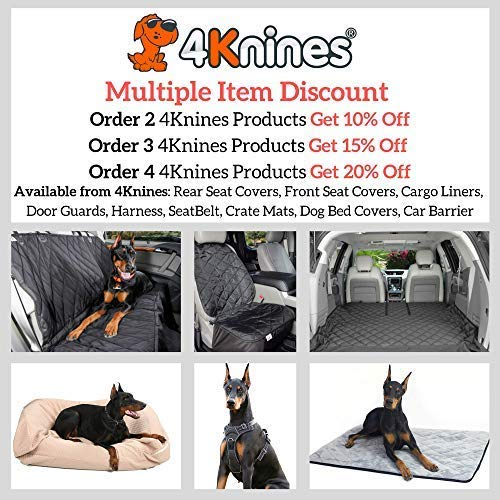 4Knines Dog Seat Cover Without Hammock for Fold Down Rear Bench Seat 60/40 Split and Middle Seat Belt Capable - Heavy Duty - Black Regular - Fits Most Cars, SUVs, and Small Trucks - USA Based Company by 4Knines (Image #4)