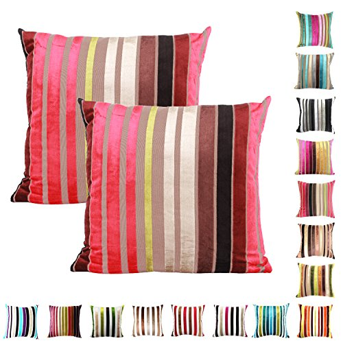 Chenille Throw Pillow (Queenie® - 2 Pcs Chenille Stripe Decorative Pillowcase Cushion Cover for Sofa Throw Pillow Case Available in 15 Colors & 5 Sizes (16