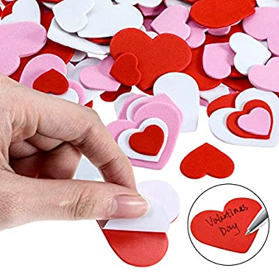 Blulu 900 Pieces Heart Foam Stickers Self Adhesive Heart Shape Stickers Mixed Color Heart Stickers for Valentine's Day Decoration and Art Craft (Classic Style): Toys & Games
