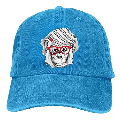 JHDHVRFRr Hat Chimpanzee Glass Denim Skull Cap Cowboy Cowgirl Sport Hats for Men Women
