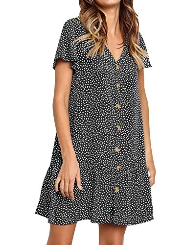 LANREMON Women's Dresses Casual Polka Dot V-Neck