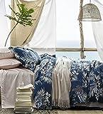 Midnight Blue Botanical Print Duvet Quilt Cover Egyptian Cotton Bedding Set Modern Luxury Minimal Palm Leaf Dark Navy Taupe Floral Watercolor Design (King)