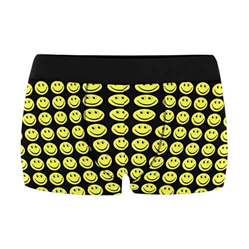(INTERESTPRINT Men's Stretch Boxer Briefs Yellow Smiley Face XL)