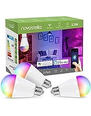Novostella 1300lm 13W LED Smart WLAN-lamp, E27 RGB Smart WLAN-gloeilamp, dimbaar, timing RGBCW (koud wit, warmwit, meerkleurige LED), app-afstandsbediening compatibel met Alexa Echo Google Home IFTTT