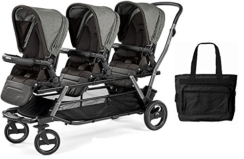 Peg Perego Triplette Piroet Stroller with Pop-Up Seats and Diaper Bag - Atmosphere by Peg Perego