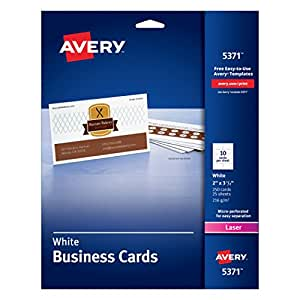 Avery Laser 2 x 3 1/2 Inch White Business Cards 250 Count (5371)