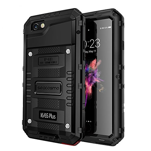 Seacosmo iPhone 6S Plus Waterproof Case, IP68 Full Body Protective Case with Built-in Screen Protector Military Grade Rugged Heavy Duty Case Cover for iPhone 6 Plus, Black