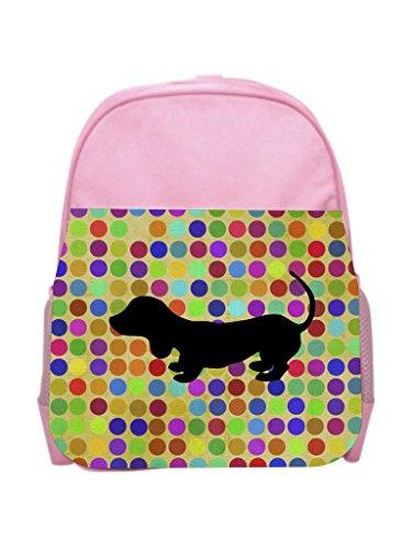 Dachshund on Dots Girls Pink Preschool Toddler Children's Backpack & Lunch Box Set