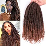 3Packs Marley Braiding Hair for Twists 18 Inch Afro Kinky Braiding Hair Extensions Synthetic Brown Twist Braids Hair (1B/30#)