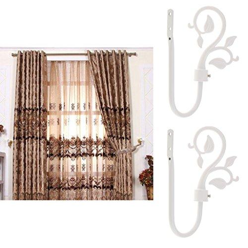 Fenteer 2PCS Vine Leaf Shaped Window Curtain Tassel Tie-Back Wall Hooks Clothes Coat Hangers - White (Curtain Tiebacks Leaves)