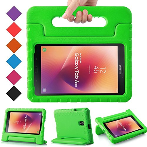 BMOUO Kids Case for Samsung Galaxy Tab A 8.0 2017 (SM-T385 /T380) - EVA Shockproof Light Weight Handle Stand Kids Case Cover for Samsung Galaxy Tab A 8-inch 2017 Release - Green (Case Tab Samsung 8 Inch Galaxy)