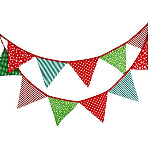 Lovely Bunting 3.3M/10.8Ft Triangle Flags Banner Pennant Garlands Fabric Double Sided Vintage Cloth Shabby Chic Decoration for Wedding ,Birthday Parties ,Ceremonies, Kitchen,Bed - Cloth Flag