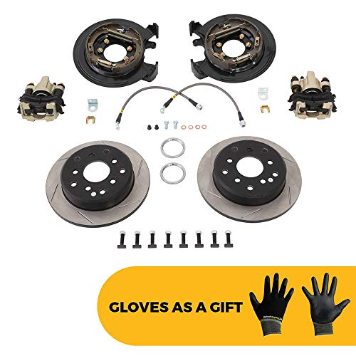 G2 Axle & Gear Rear Disc Brake Conversion Kit with Rotors for 1991-2006 Jeep TJ/LJ/YJ/XJ - Bonus Our Pair of Gloves Included ()
