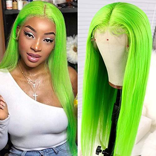 13x6 Lace Front Wigs Human Hair With Baby Hair Lime Green Glueless Silk Straight Lace Wigs Pre-Plucked Hairline Middle Part Bleached Knot for Women 130 Density (22 Inch, 13x6 Lace Wig) -