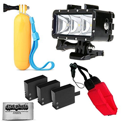 Opteka Floating Hand Grip + Waterproof LED Flash Light + 3 Batteries + Wrist Strap for GoPro HERO4, HERO3, HERO2 Black, Silver, Session, SJ6000, SJ4000 and Similar Action Cameras