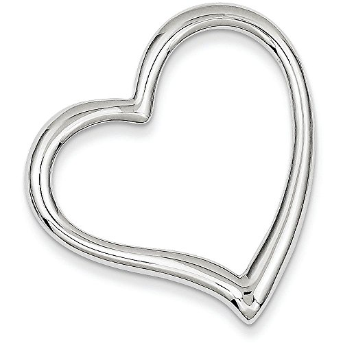 Slide Heart Silver Sterling Pendant (Sterling Silver Heart Slide - (1.18 in x 1.26 in))