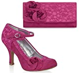 Ruby Shoo UK 3 EU 36 Fuchsia Pink Anna Lace Mary Jane Pumps & Milan Bag