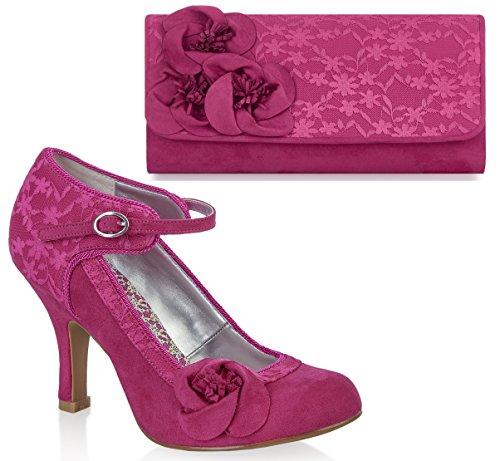 Ruby Shoo UK 3 EU 36 Fuchsia Pink Anna Lace Mary Jane Pumps & Milan Bag by Ruby Shoo