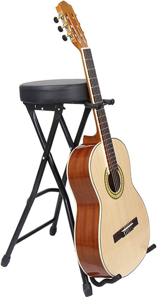 UNHO Taburete para Guitarra Banco Plegable para Tocar Guitarra Taburete con Soporte y Reposapiés para Guitarrista Bajo Eléctrico Guitarra Acústica