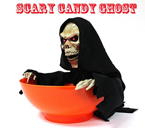 YAMATE Skull Trick or Treat Candy Bowl Halloween Ghost Decorations,LED Eyes+Built-In Motion Sensor (Halloween Scary Tricks)