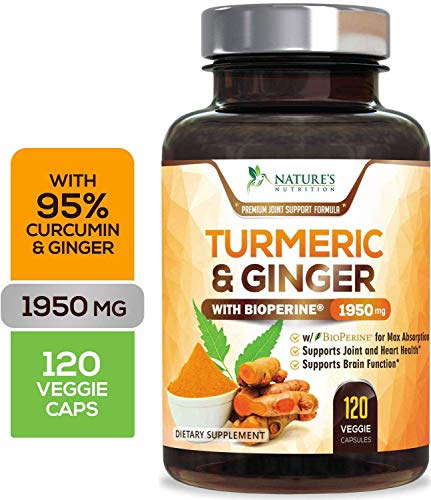 Turmeric Curcumin 95% Highest Potency with Ginger 1950mg with Bioperine Black Pepper for Best Absorption, Made in USA, Best Vegan Joint Pain Relief, Turmeric Pills by Natures Nutrition - 120 Capsules
