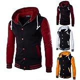 Han Shi Hoodies, Men Fashion Button Patchwork Coat Baseball Outwear Warm Sweatshirt Tops (2XL, Wine)