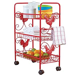 Red Metal Rooster 3 Shelf Rolling Cart, Red