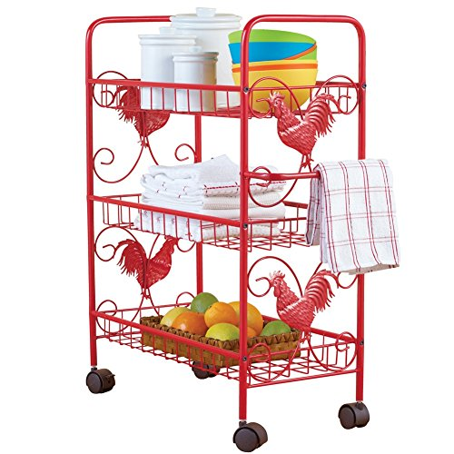 Metal Rooster Shelf Rolling Cart