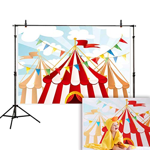 Funnytree 8X6FT Wrinkle Free Soft Fabric Cartoon Circus Party Photography Background Backdrops for Child Baby Shower Banner Photo Studio Props Photobooth Photoshoot