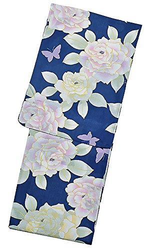 効率すり減る危険[ KIMONOMACHI ] 京都きもの町オリジナル 浴衣単品「ブルー 薔薇」