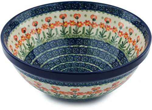 Polish Pottery Bowl 9-inch Peach Spring Daisy made by Ceramika Artystyczna ()