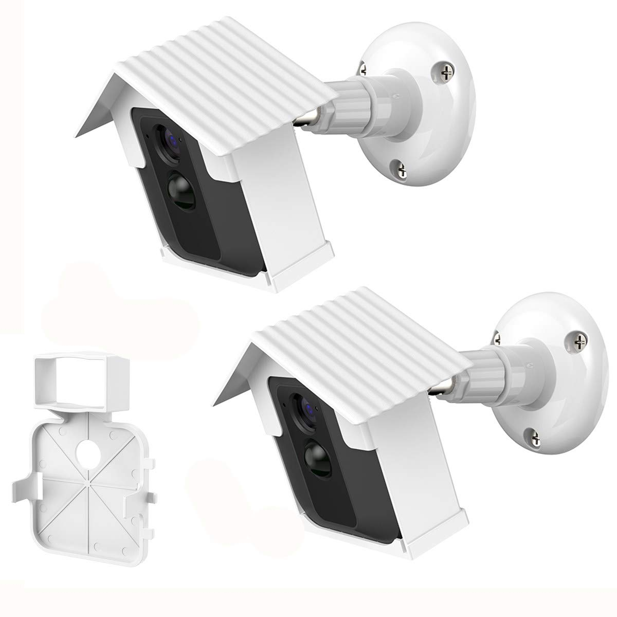 BECROWMUS Blink XT ウォールマウントブラケット 耐候性 360度保護 屋内外用 マウントカバーケース Blink XTスマートスポットカメラ用 アンチグレアUV保護 Case-HNUS-HS0179-W B07HCJ34X8 White(2 case+1 stand)