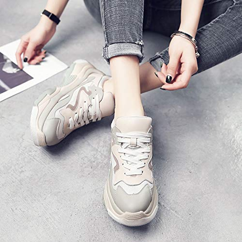 Walking da Hwf Grigio Sport Scarpe da donna Up Running donna Lace Espadrillas Autunno Beige Athletic Casual Tempo libero Fqf7x5pwq