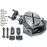 """New 4"""" (100 mm) Tilting Rotary Table 0-90 Degrees + M6 Clamp Kit for Milling"""