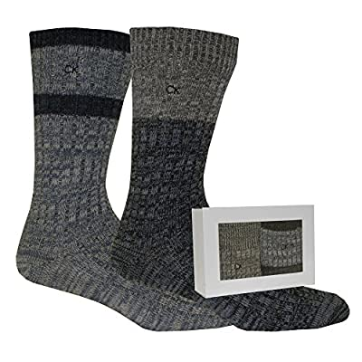 Calvin Klein 2-Pack Men's Boot Socks Gift Box, Navy/Grey/Blue