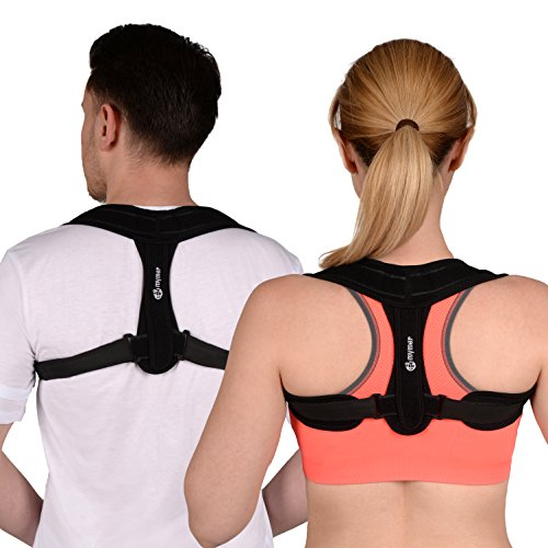 Mymer Posture Corrector Brace for Women & Men with Adjustable Shoulder Straps - Comfortable Back Brace for Clavicle Support & Improving Bad Posture & Healing Medical Problems & Relaxing Back (Tech Trainer Shorts)