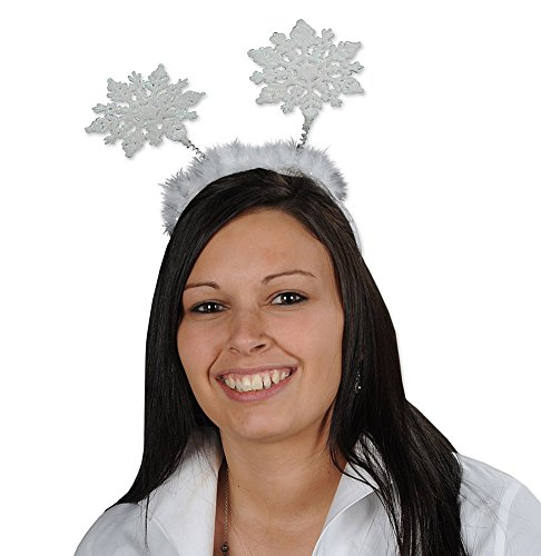 Snowflake Feathered Glittery Headband Bopper