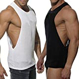 KIKOY Fashion Mens Sleeveless Sport Vest Casual Loose Solid Tank Tops Black