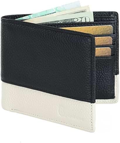 8Sanlione Mens Wallet Genuine Leather RFID Blocking Slim Pocket Wallet Money Clip