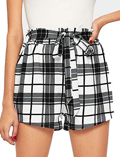 (Romwe Women's Casual Elastic Waist Summer Shorts Jersey Walking Shorts Black L)