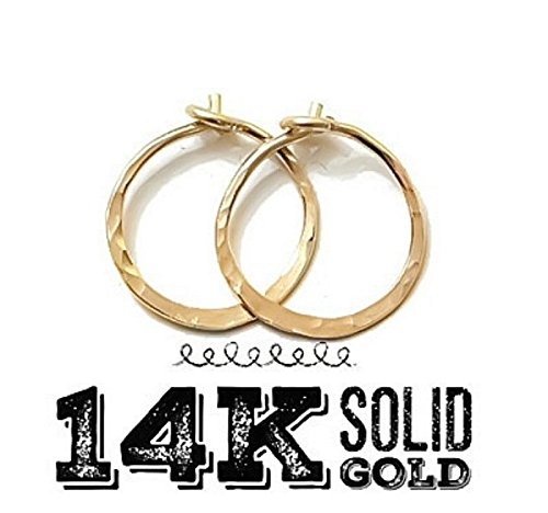 14K Solid Yellow/Rose Gold Textured Hammered Endless Classic Hoop Earrings 5/8