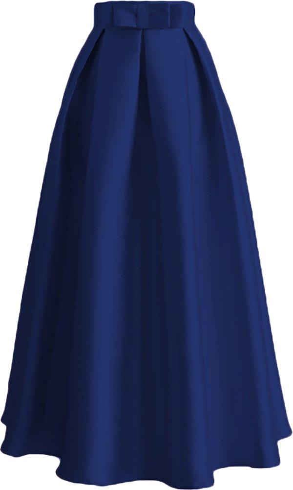 Ababalaya Women's Modest Muslim Islamic Solid Ankle Length Bow TUTU A-Line Skirt,Navy Blue,XXL