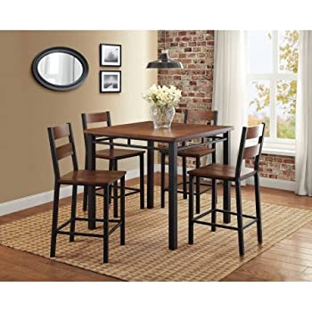Amazon.com - Mainstays 5-piece Counter Height Dining Set, Warm ...
