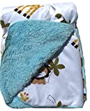 Lambs and Ivy, Baby Boy Blankets, Warm and Cozy, Extra Soft Micro Plush Fleece Blanket, Anti-Pilling, Elephant, Crocodile and Giraffe Theme on a Turquoise Sherpa, 30 x 40 in