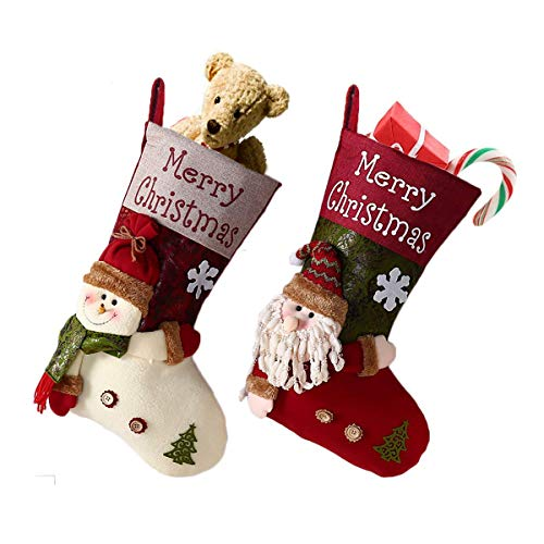 Lovely Christmas Stockings Set,2 Pack Santa Claus Xmas 3D Plush Linen Hanging Tag Knit New Year Christmas Stocking Xmas Gift-19 inch (Santa Claus&Snowman) ()
