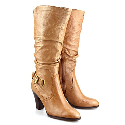 Ladies Leather Wide Boots Tan Riding Block Womens Heel Biker High Calf Up Zip Knee rSxrqF4