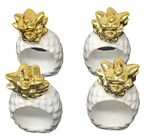 (Design Imports Pineapple and Palms Table Linens, Ceramic Napkin Rings, Set of 4,)