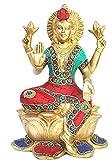 DamascusArms Lakshmi Statue Turquoise Lotus Lakshmi Hindu Goddess Brass Success Idol