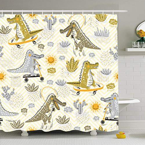 Envelope Croco - YeaSHARK Shower Curtains 72 x 72 Inches Crocodile Cute Doodle Wildlife Africa Skateboard Home Decor Fabric Waterproof Bathroom Set with Hooks